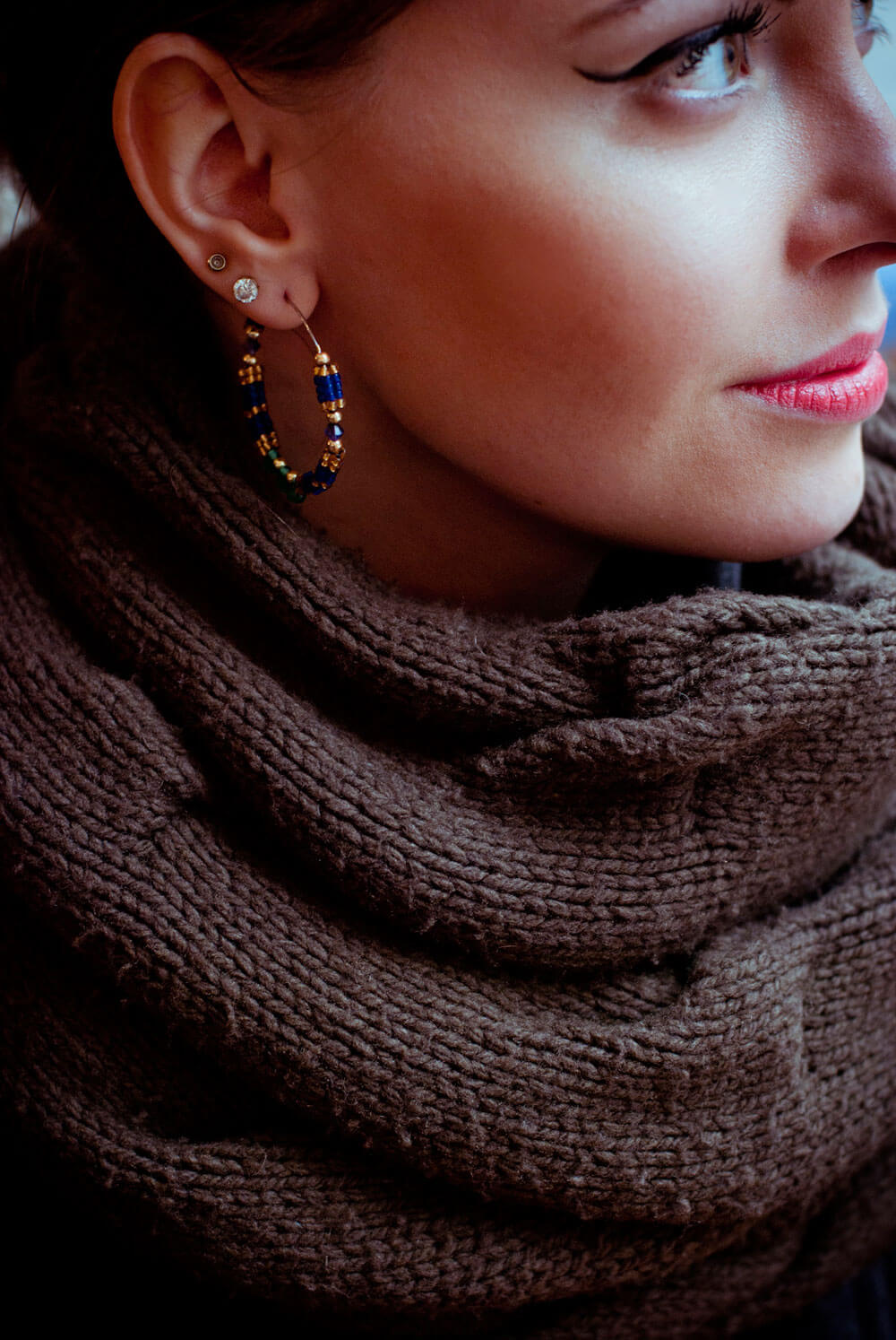 Edita in JR earrings, DKNY scarf, Chanel PINK lipstick enjouée 2