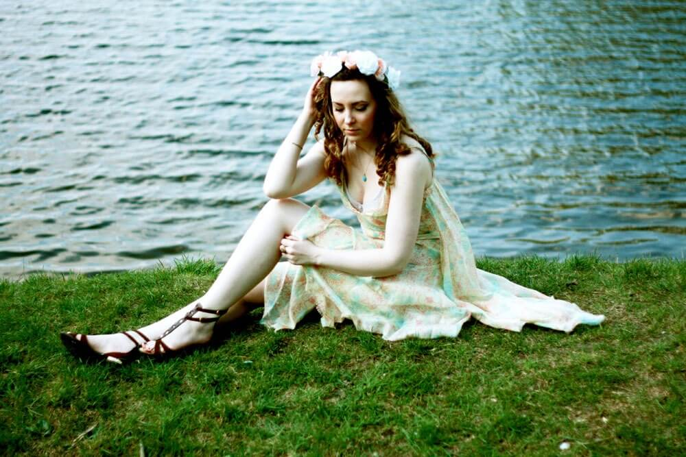 Edita in Edun dress, Louis Vuitton sandals, DIY flower crown and gold jewellery