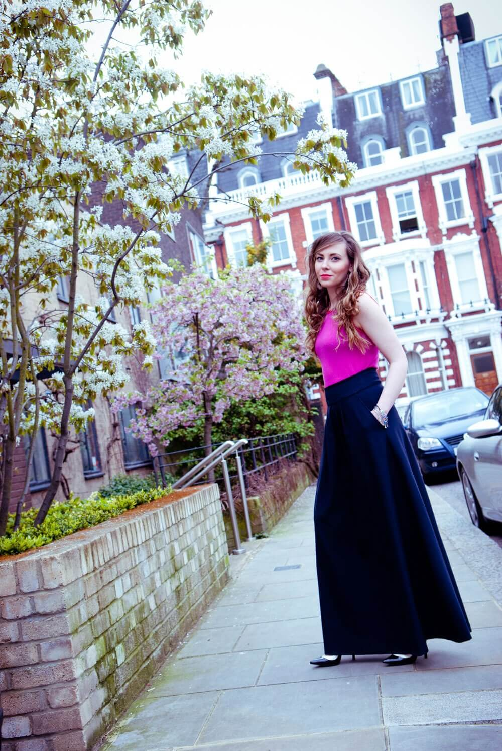 Edita in Escada top, Me+EM skirt, BCBG courts and silver jewellery