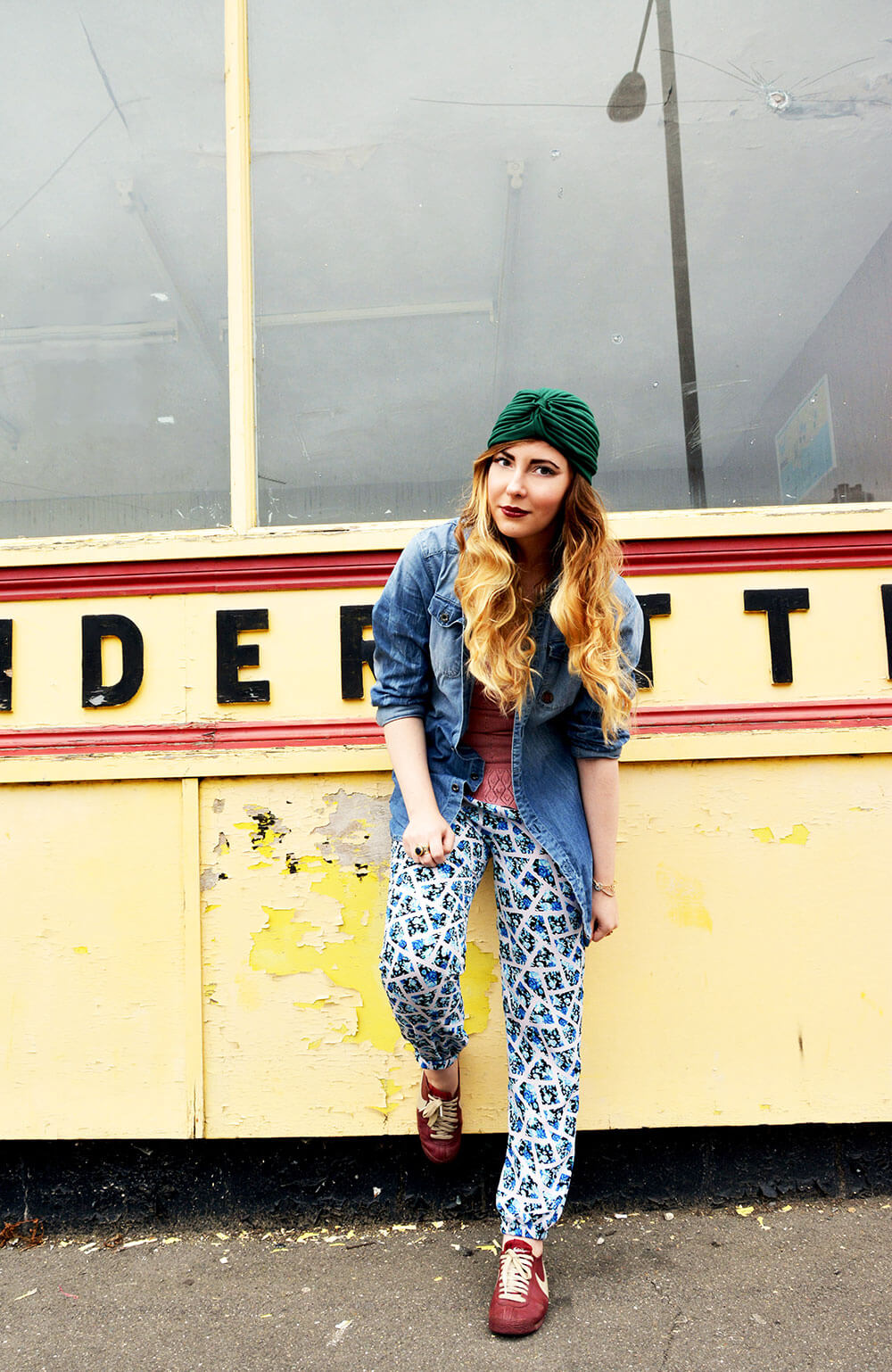 Edita in Miss Jolie trousers, Nike sneakers, Tommy Hilfiger top, Marina Rozen necklace, Bf's denim shirt and gold jewellery 1