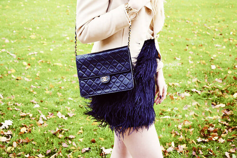 Edita in Micheal Kors Ostrich feather skirt, Chanel bag, Dior jacket, BCBG pumps and Ralph Lauren lace top