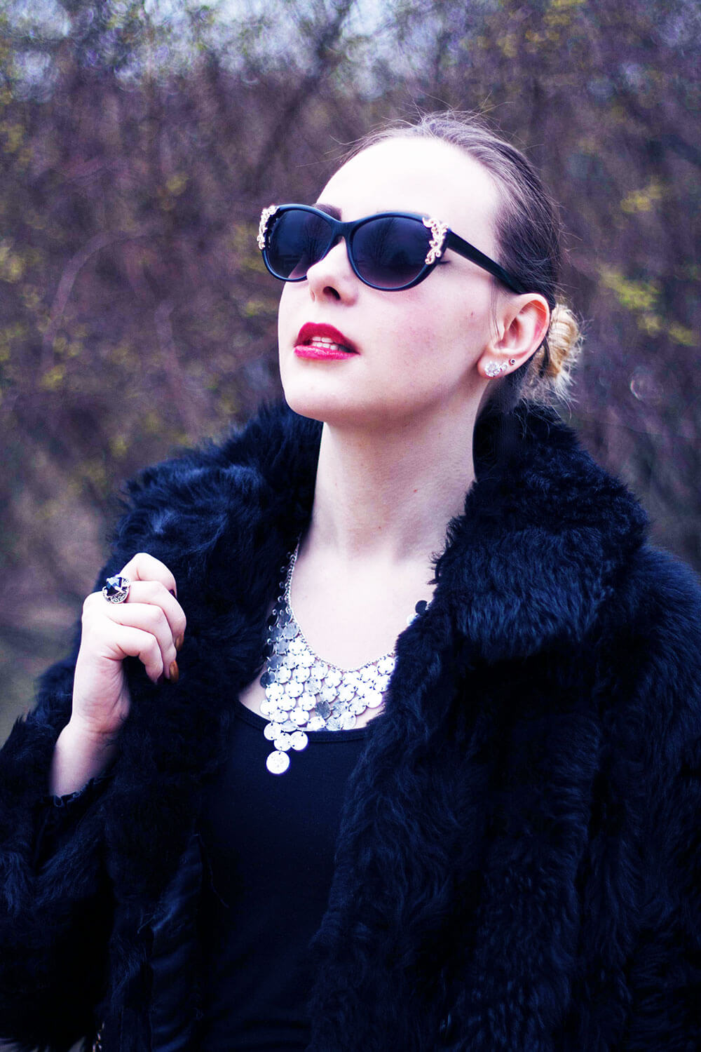 Edita in Vintage coat and bag, Kain dress, M&S shoes, H&M sunnies, and ASOS necklace