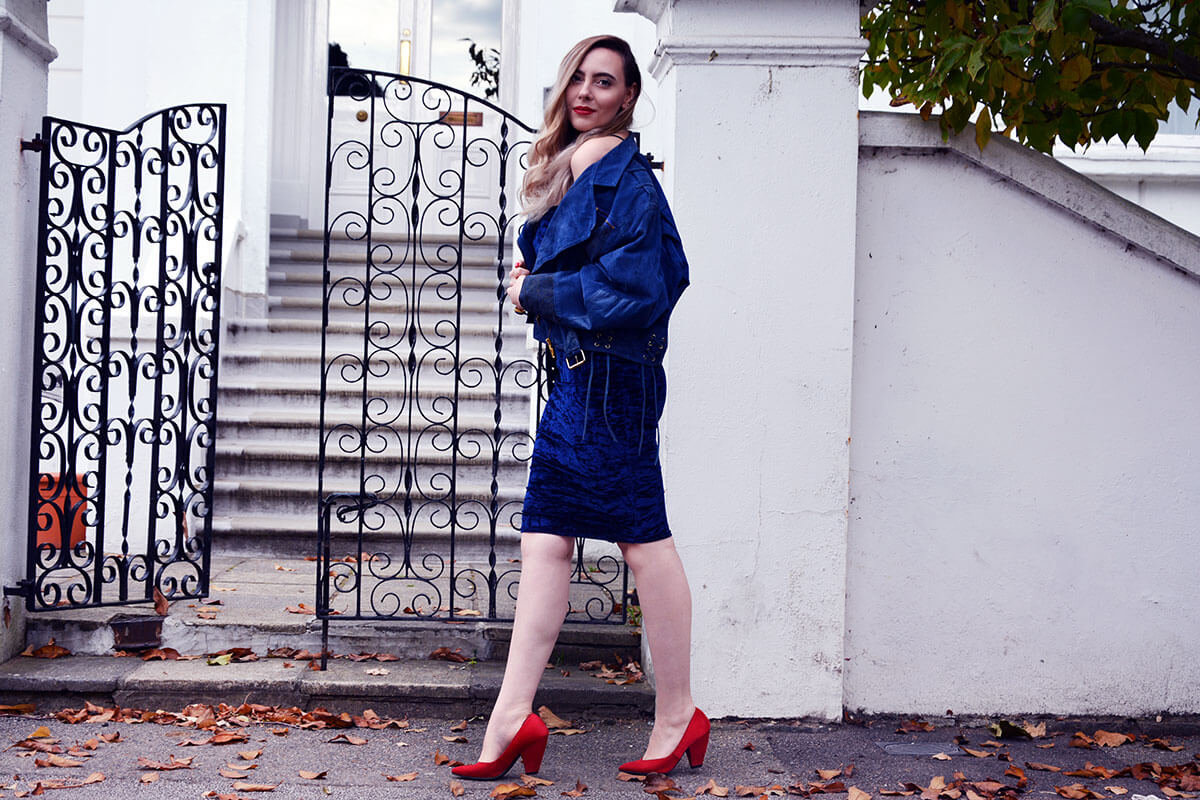 Edita in Blue Velvet Boohoo, Vintage and Marks and Spencer 11