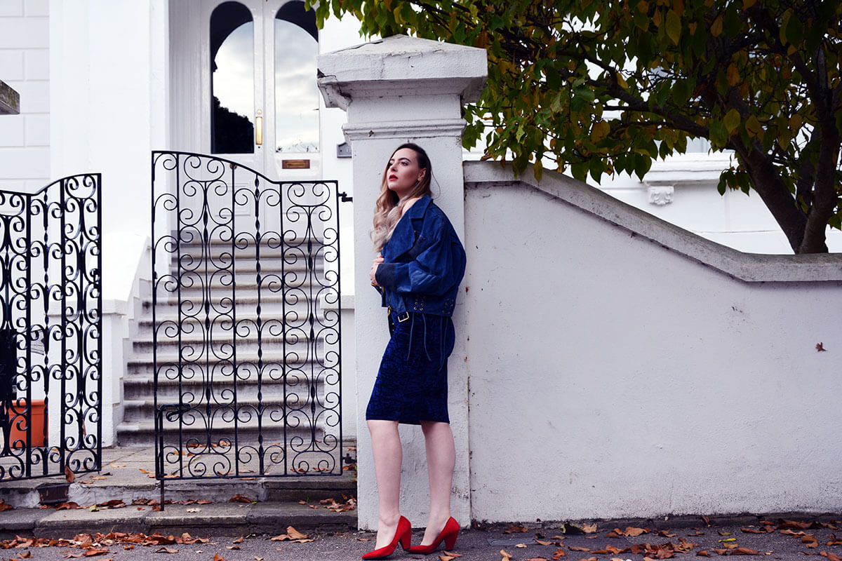 Edita in Blue Velvet Boohoo, Vintage and Marks and Spencer 12