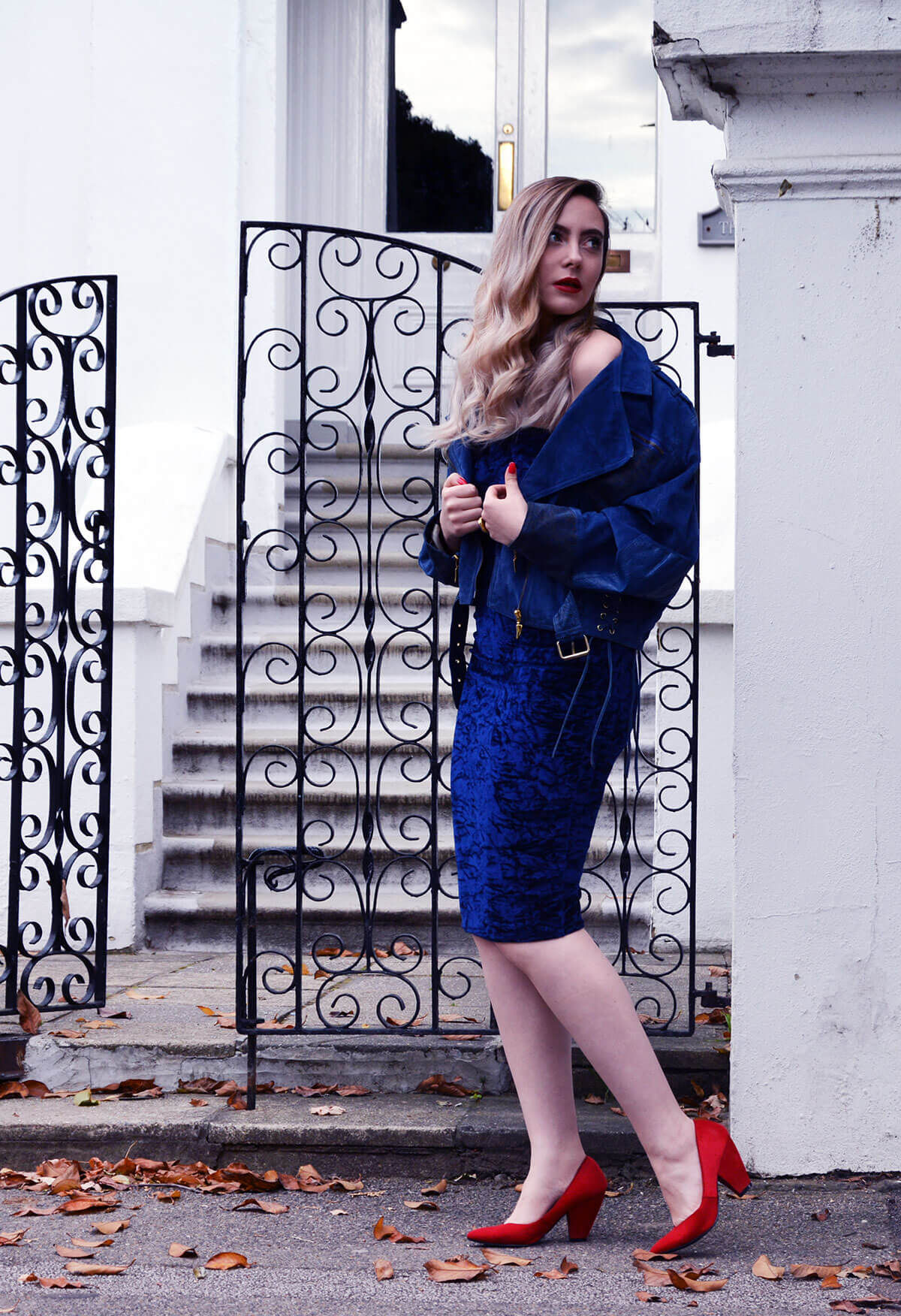 Edita in Blue Velvet Boohoo, Vintage and Marks and Spencer 13