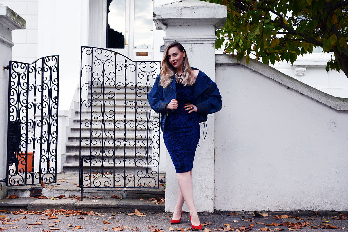 Edita in Blue Velvet Boohoo, Vintage and Marks and Spencer 14