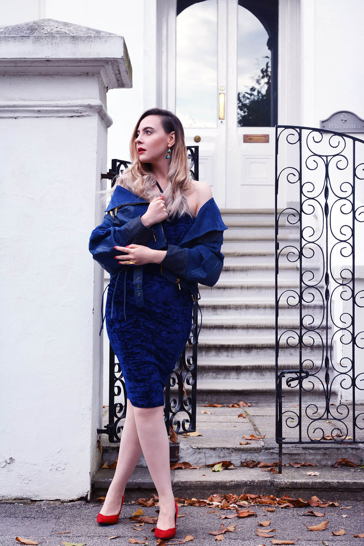Edita in Blue Velvet Boohoo, Vintage and Marks and Spencer 4