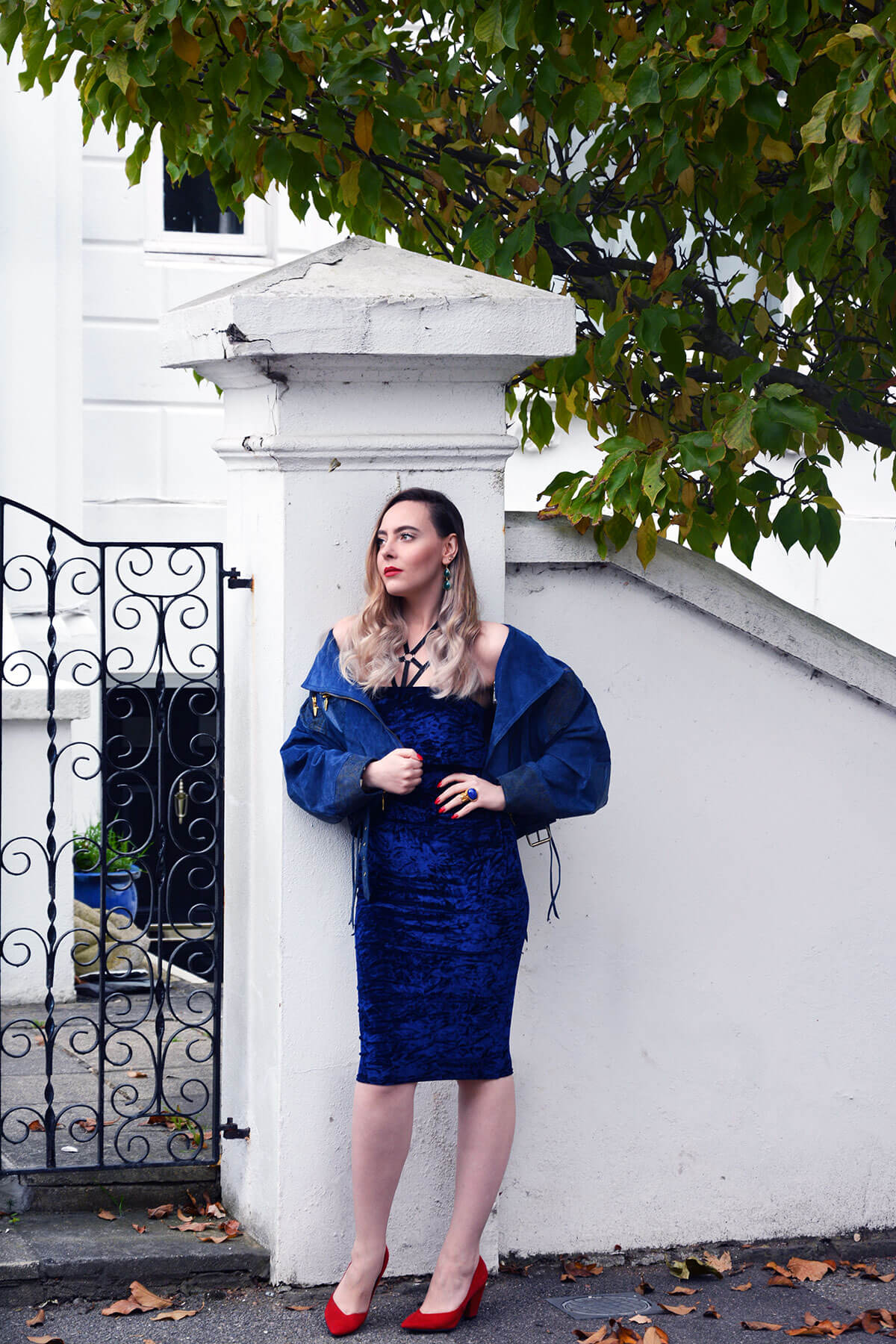 Edita in Blue Velvet Boohoo, Vintage and Marks and Spencer 8