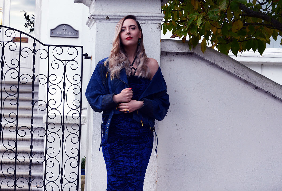Edita in Blue Velvet Boohoo, Vintage and Marks and Spencer 9