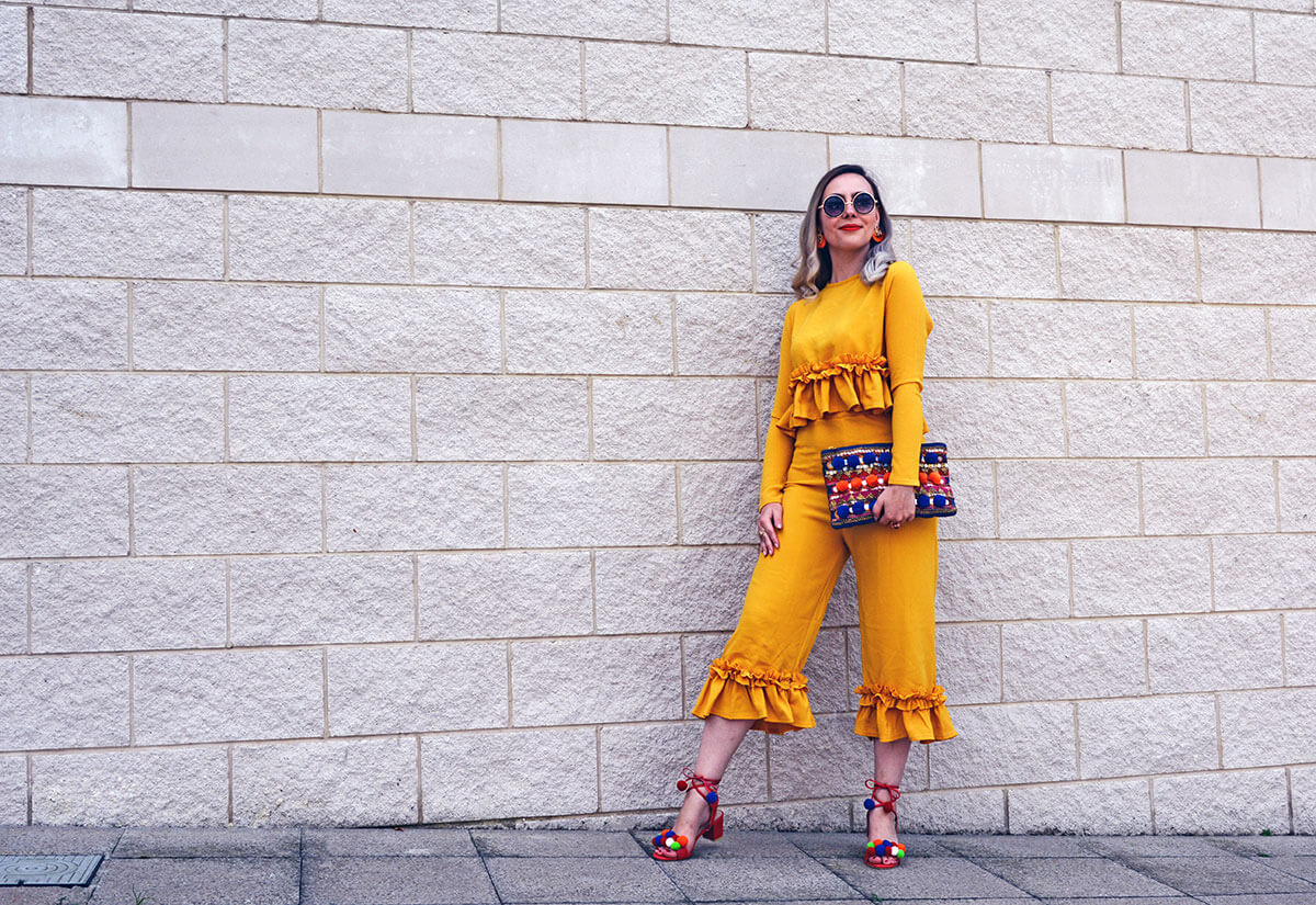 yellow frilly flamenco outfit