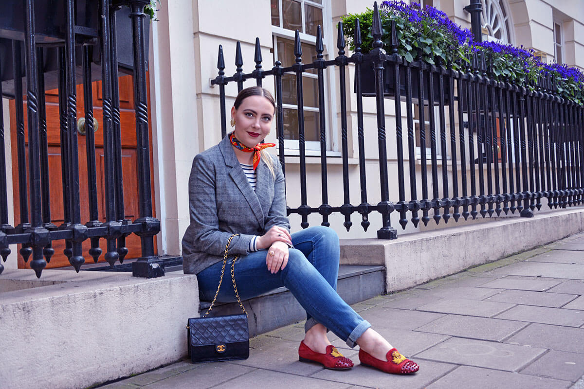 fashion blogger in hermes scarf, christian louboutin flats